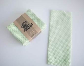 "Unpaper Towels Cloth Napkins 12 Flannel Tissues  - Size (10"" x 12"")  - 1 PLY - Green Print"