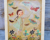 """Butterfly Afternoon print on wood 8""""x10"""" by Melissa Belanger"""