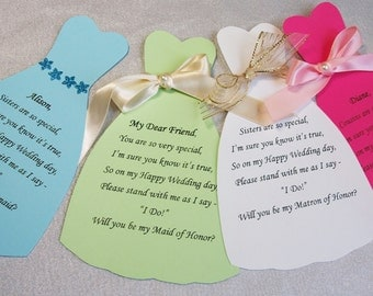 Bridesmaid Card, Maid of Honor Card, Matron of Honor Card, Customizable Name Card, Many dress and ribbon colors to choose from (see chart)