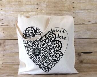 Tote Bag, Canvas Tote, Spread Love Bag, Market Bag