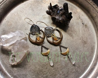 Alchemy Collection Witchy Tribal Earrings- Triple Brass Crescents, Opaline Talhakimts, and Raw Quartz
