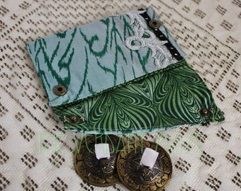 Small Assuit Zills Bag- Sky and Trees Ikat Silk and Silver Lace Finger Cymbals Pouch
