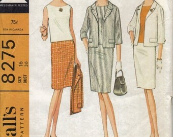 Vintage 1960s Misses Suit Pattern, Jacket with Notched Collar, Sleeveless Shell, and Slim Skirt, Bust 36 Inches, McCalls 8275