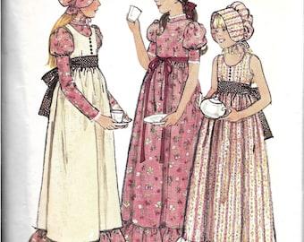 Vintage Girls Pioneer Dress and Bonnet Costume Pattern, 1970s Holly Hobbie Dress Pattern, Prairie Dress, Jumper, Hat, Size 7, Breast 26