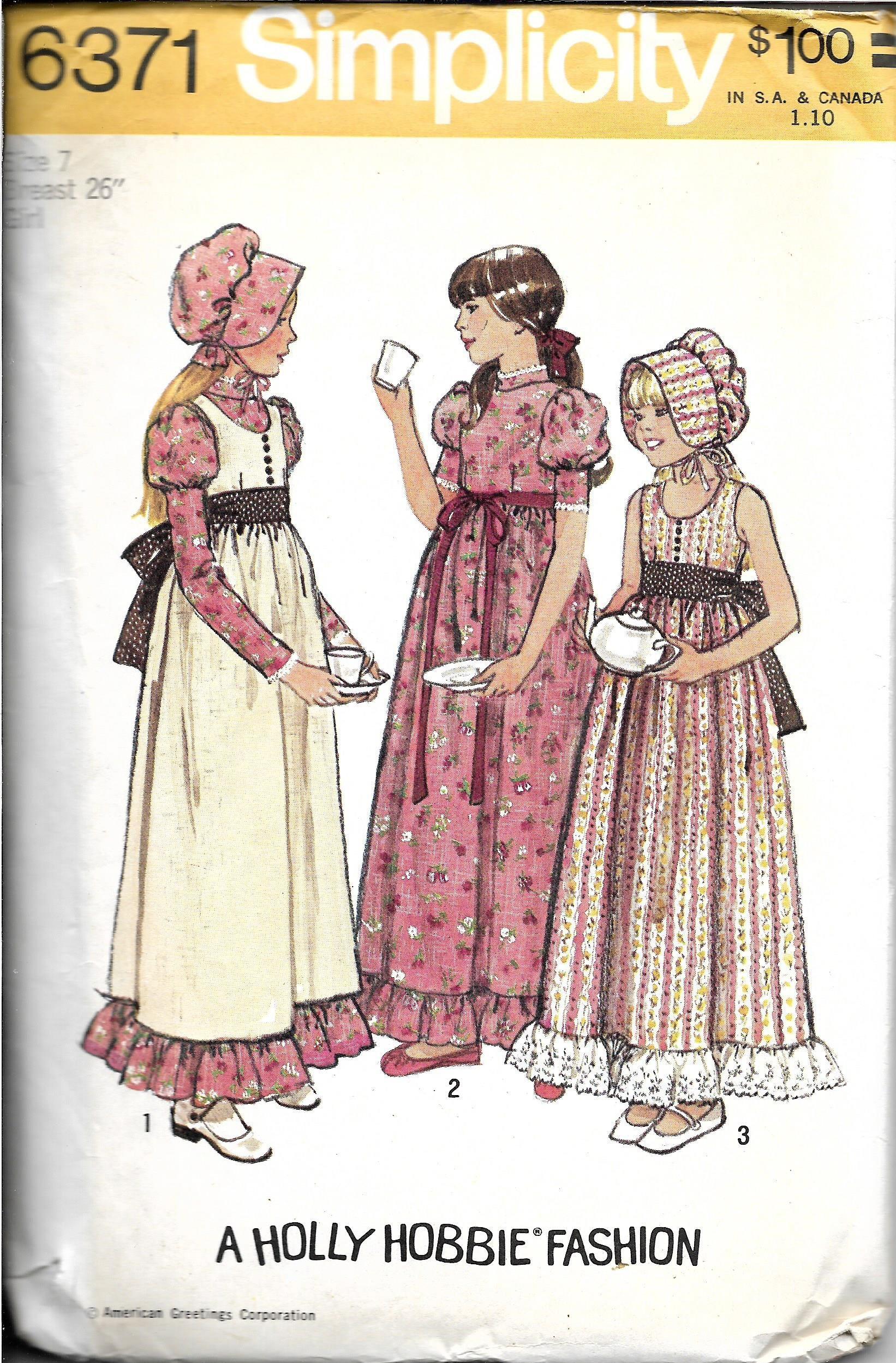 98171fe46b4 Vintage Girls Pioneer Dress and Bonnet Costume Pattern .