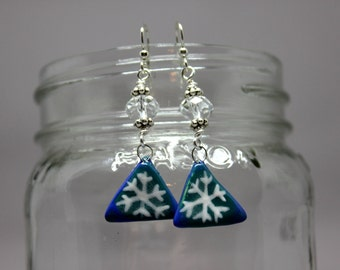 Snowflake Earrings, Holiday Jewelry, Winter Jewelry - Porcelain Snowflake and Crystal Earrings, Snowflake Jewelry
