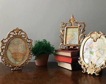 Hollywood Regency Baroque Gold Iron Frames ~ 3 Table Top Frames