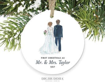 Bride & Groom Ornament First Christmas as Mr and Mrs Ornament Newlyweds Christmas Ornament First Married Christmas Ornament Newlywed Wedding