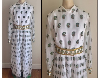 Vintage 1970s Misses' Alfred Shaheen White Paisley Maxi Dress 6 8