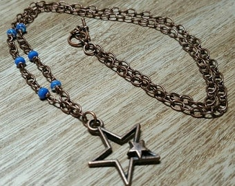 HOLLOW STARS antiqued copper star pendant chain necklace jewelry