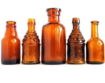 Honey Amber Bottles Vintage Glass Bottles Set of Five Mini Flasks Retro Photo Prop