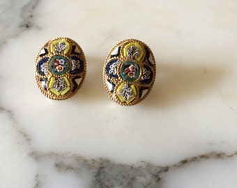 Italian Mosaic Clip On Earrings