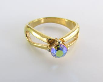 Aurora Borealis Crystal Ring - Vintage 1970s Gold Cocktail Ring Size 7