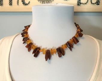 """GENUINE Baltic Amber ADULT Necklace - Honey & Cognac Baltic Amber Beads- (18"""") - Natural Pain relief, Anti-inflammatory"""