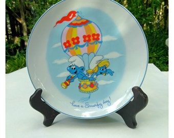 Vintage Smurf and Smurfette Ceramic Collectible Porcelain Hanging Plate Have A Smurfy Day! Wallace Berrie 1982