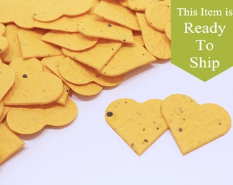 Gold Nugget Plantable Seed Paper Confetti Hearts - READY-TO-SHIP - Wedding Favors, Bridal Shower Favors, Baby Shower Favors