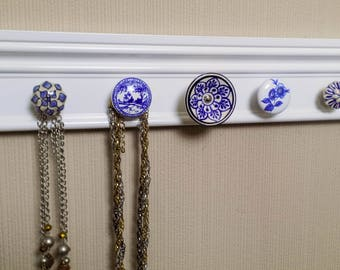 YOU CHOOSE  5, 7 or 9 KNOBS  jewelry holder This wall necklace organizer has blue & white ceramic knobs  closet storage jewelry storage gift