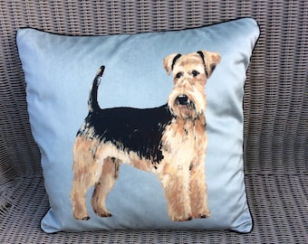 Airedale terrier dog cushion pillow in velvet and soft tweed. FREE UK Postage.