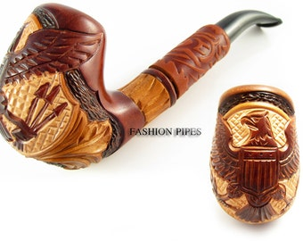 "Tobacco smoking pipe ""AMERICAN EAGLE"" pipes with leather long Wood Wooden Carving Handmade. Exclusive Fashion Design"