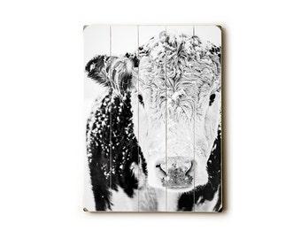 Wood Sign, Black and White Cow Art Print, Wood Plank Art, Wood Wall Art, Farmhouse Decor, Kitchen Art, Housewarming Gift, Cow Wall Art