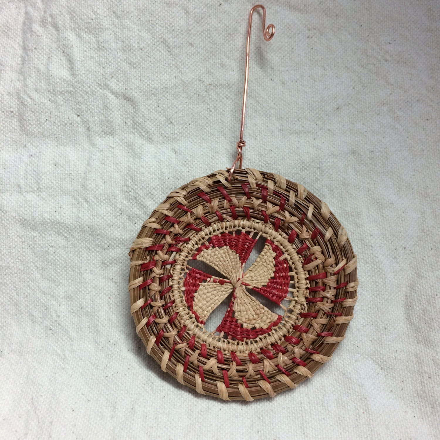 Pine needle christmas ornament all natural materials handwoven