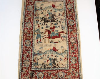 Antique Persian Textile Early 1900s Mid Eastern Scenes