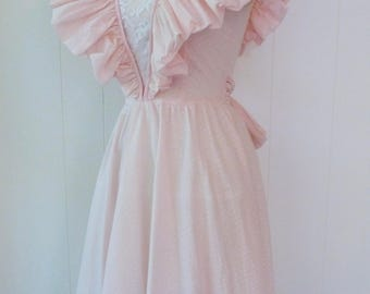 80's Sweetest Pale Pink Party Dress Giant Puff Shoulder Princess Bow Ruffle Lace Petticoat Open Back Ruched Ruffled Full Skirt XS S