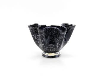 Hand Blown Glass Bowl - Black and Silver