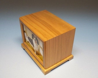 Cherry Wood Pet Urn, 90 c. i. Cherry with a Walnut Inlay Pet Photo Urn  with Lacquer Finish