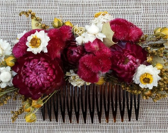 Floral Hair Comb Burgundy Dried Flowers For Wedding or Prom