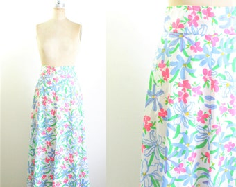 Vintage 1970s Floral Maxi Skirt 70s Skirt 70s Maxi White Floral Maxi Skirt White Maxi Skirt Small Medium