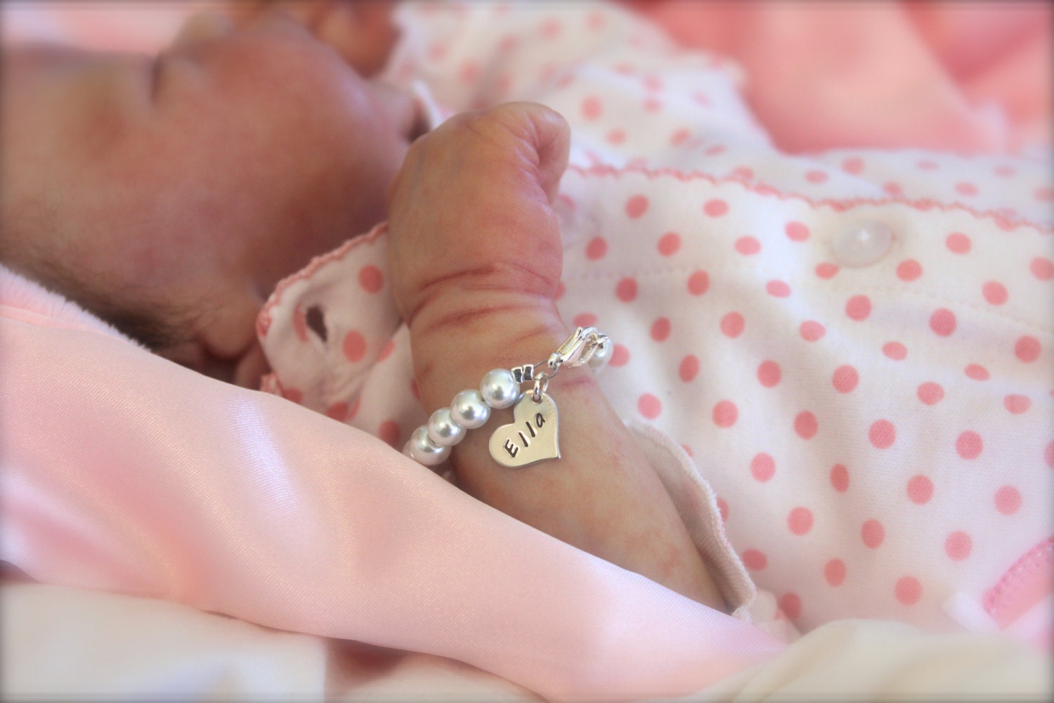 Personalised New Baby Gifts Australia : Personalized heart charm bracelet baby girl pearl keepsake