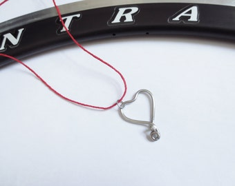 Bicycle Spoke Heart Pendant on Red Cotton Twist Cord Necklace , Upcyled and Recycled Jewelry