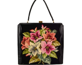 Vintage Black Floral Tapestry Needlepoint Handbag // X-Large 1960's Kelly Tote Purse // Pink, Red, Hellebore Lilly Flowers, Made in Belgium