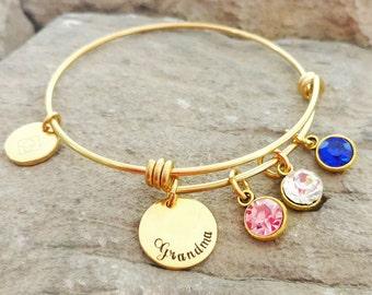 Grandma Bracelet - Grandma Gift - Grandma Charm Bracelet - Grandma Birthstone Bracelet - Grandma Jewelry - Mothers Day Gift - Grandma Bangl