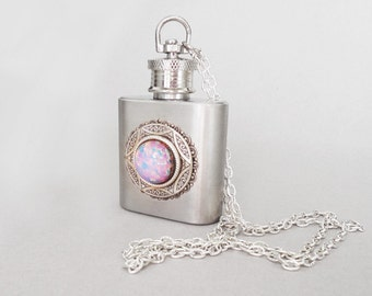 Pink Fire Opal Silver Flask Necklace--silver necklace.women flask Christmas gift, Flask For Women Stainless steel flask