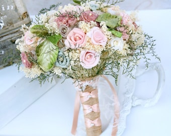 Dusty Pink Wedding Bouquet // Dusty Rose, Green, Bridal Bouquet, Wedding Flowers, Sola Bouquet, Dried Flower, Lace Bouquet, Bridal Flowers