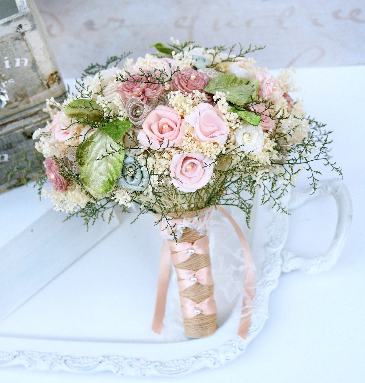 Pink Wedding Flowers: Dusty Pink Wedding Bouquet // Dusty Rose Green Bridal