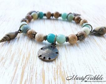 Amazonite Bracelet, Seashell Charm Bracelet, Ocean Bracelet, Beach Bracelet, Beach Jewelry, Jasper Bracelet, Gemstone Bracelet, Blue Jewelry