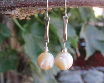 Mother of Pearl and Silvered Metal Boho Dangle Earrings