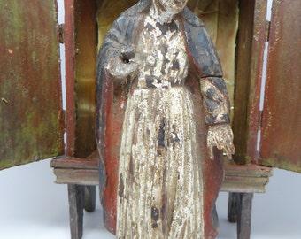 1800's Virgin Mary Santos, Antique Hand Carved Madonna Bulto
