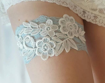 Blue garter, Lace Wedding Garter, bridal garter - Lace Floral garter