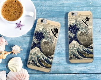 Great Wave off Kanagawa Surfer Girl or Guy Dictionary Art iPhone 7 Case, iPhone 7 Plus Case, Surfing Beach iPhone 6s 6 plus 5 SE Cover