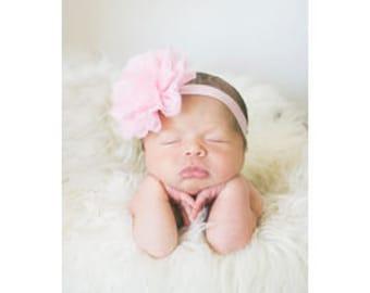 Plush Pink Chiffon Puff Baby Girl Headband - Newborn Baby Girl Gift - Photo Session Hair Bow