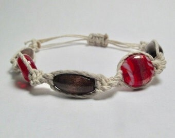 Hemp Bracelet with Red Glass and Wooden Beads