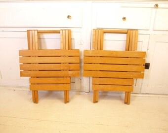 Vintage Pair retro modern folding nesting wooden slat portable Tables plant stands