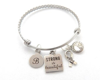 Cancer Survivor Gift, Cancer Awareness Jewelry, Hope Ribbon, Strong is Beautiful bracelet, Strength, Survivor jewelry, Encouragement gift