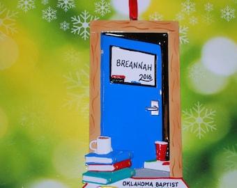 Personalized College Dorm Door Christmas Ornament