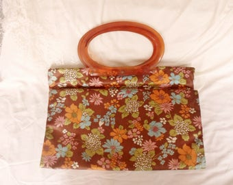 Lady's Pride Waterproof Tote Bag with Tortise Lucite Handles, Expands from Floral Purse to Market Bag with Snaps