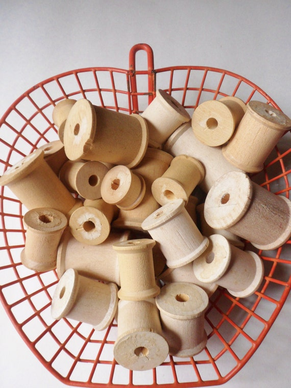 Assorted Wooden Spools, 29 Old Thread Spools